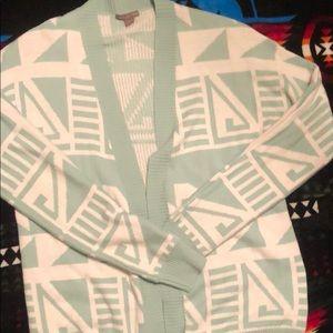 Aqua Aztec print cardigan